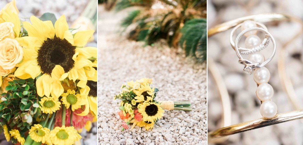 sunflower bridal details wedding beach