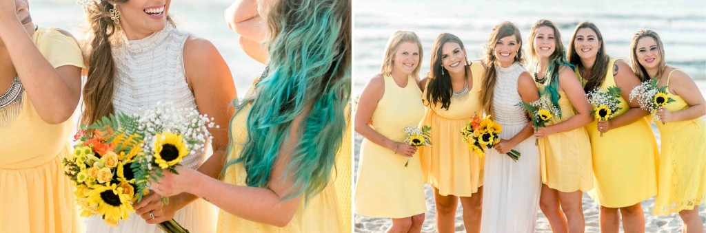 yellow sunflower bridesmaids dresses beach