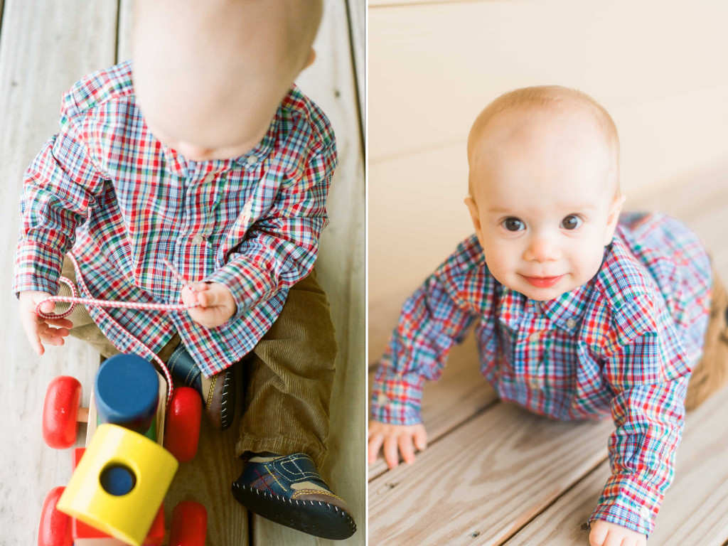 baby in plaid 10 month photos