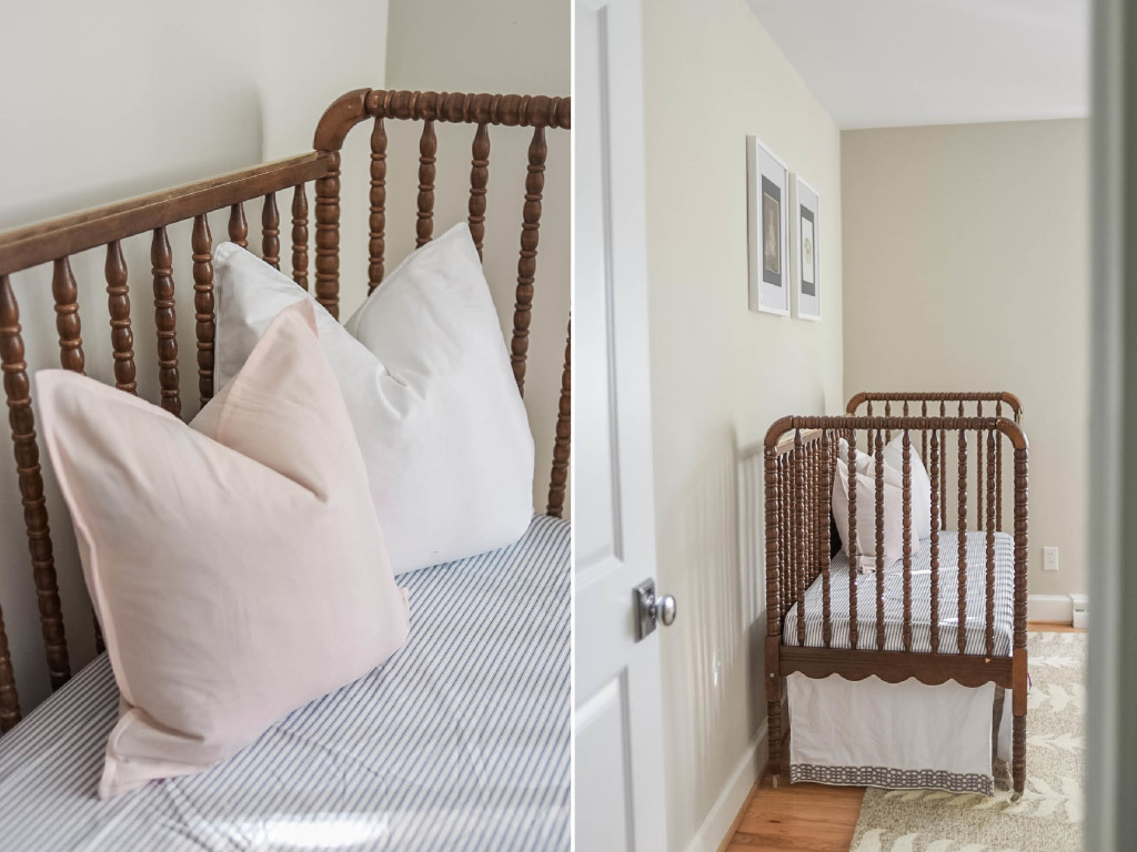 navy blush nursery girl