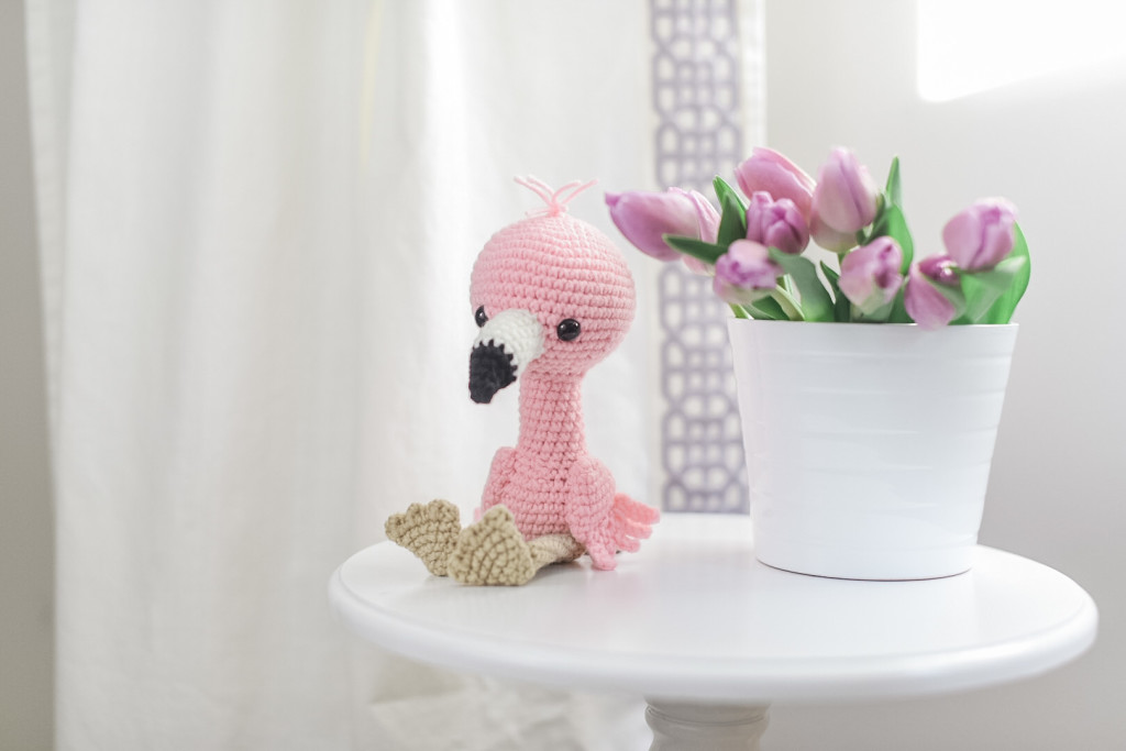 pink purple nursery flamingo crochet