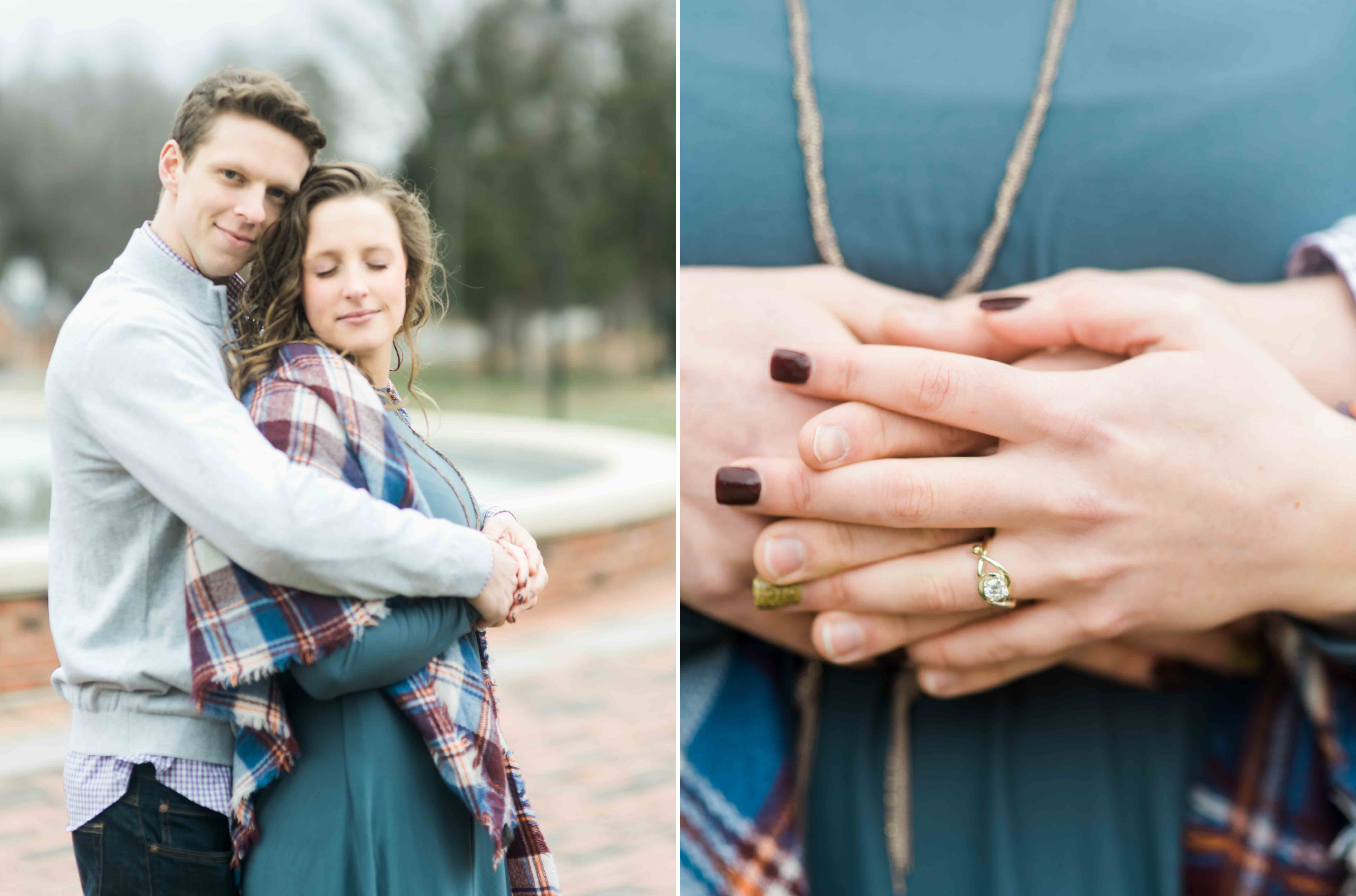 plaid scarf teal dress engagement wardrobe outfit