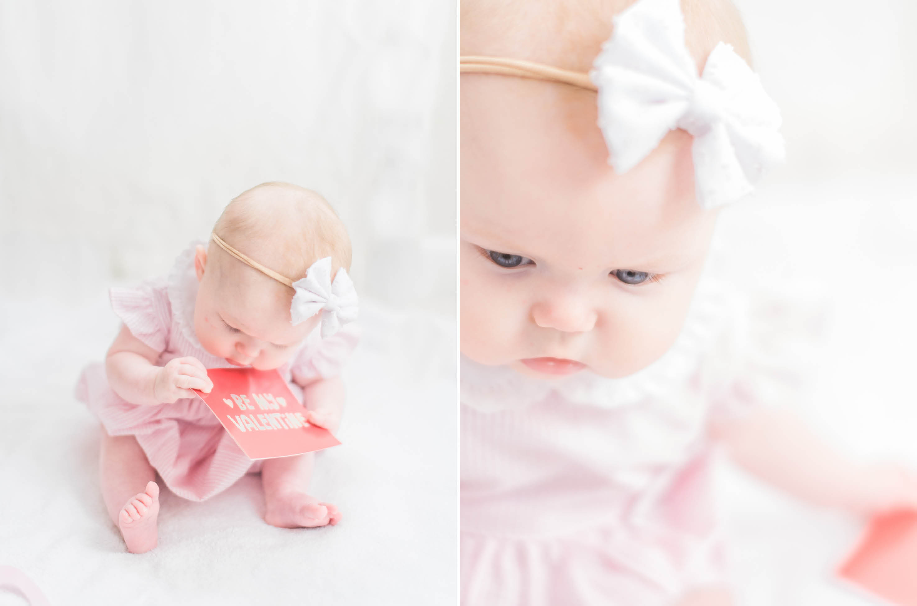 valentines day photo session baby girl pink red