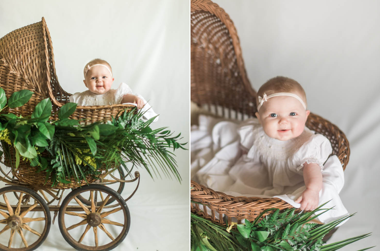 baby in antique buggy
